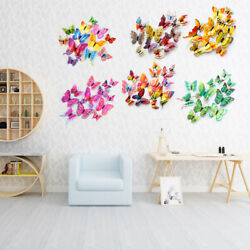 12pcs set DIY 3D Double Layer Wall Butterfly Stickers Decor Bedroom Garden Decal $5.09