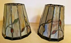 2 Handmade Medium Slag and Leaded Stained Glass Lamp Shades Leaf design 7quot; tall $79.99