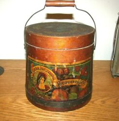 SMALL ANTIQUE WOODEN FIRKIN with ORIGINAL LABEL amp; BAIL HANDLE 6 1 2quot; Tall $375.00