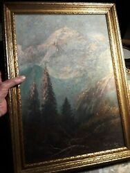 ANTIQUE OIL PAINTING on canvas... MOUNTAIN SCENE signed 20 5 8quot; X 15quot; $90.00