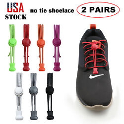 2 Pair Tieless No Tie Shoelaces Elastic Reflective Lock Lace For Kids and Adults $5.59