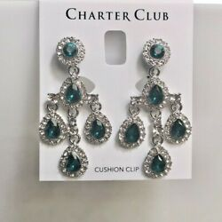 Charter Club Green Crystal Teardrop Chandelier Clip On Earrings 2quot; NEW NWT 29.50 $16.00