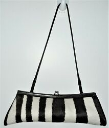 Glen Miller Designer for Ann Turk Zebra Look with Leather Trim Clutch with Strap