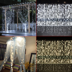 Christmas LED Window Icicle Curtain Fairy String Light Wedding Party Home Decor