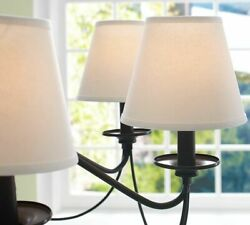 Pottery Barn Basic Linen Chandelier Shades Set 3 Three White $39.99