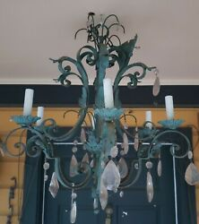 Antique Chandelier Wrought Iron Crystal Chandelier $795.00