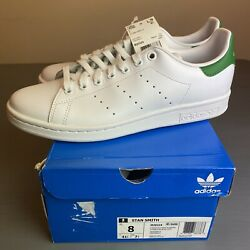ADIDAS STAN SMITH MENS US 8 WHITE GREEN Authentic New In Box M20324 SUPERSTAR $52.00