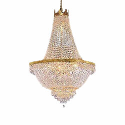 30quot;x 24quot;CRYSTAL CHANDELIER FRENCH EMPIRE LARGE FOYER GOLD CEILING LIGHTING Used $191.90