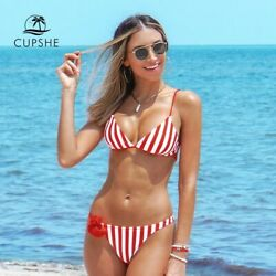 Cupshe Bikini Red and White Stripe Triangle Sexy Padded Swimsuit $19.95