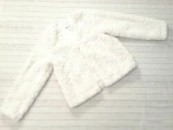 NWT Hamp;M girls 8 10 natural white faux fur jacket one button closure Trendy B28 $14.99
