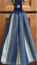 Double Hanging Kitchen towel Blue Herringbone Stripe crocheted Blue top. $12.00