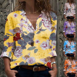 Women Casual V Neck T Shirt Long Sleeve Tops Floral Tunic Loose Fall Blouse $15.84