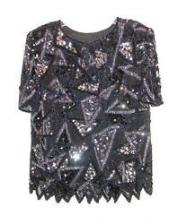 PARTY Women#x27;s S Styleworks Silk Black Beaded Sequin Top Blouse 2 layers S S $18.00