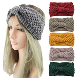 Lady Winter Knitted Bow Knotted Wide Headband Warmer HeadWrap Turban Accessories $2.99