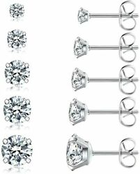 5 Pairs of Ear Stud Earrings Set Hypoallergenic Cubic Zirconia Earrings 3 8mm $8.98