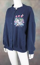 Vintage Morning Sun Women#x27;s Cardigan Size XL Retro Birds Button Down Sweater $24.99
