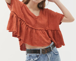 Urban Outfitters Demi Ruffle Cropped Tee Crop Top Boho size M NWT $44 $24.77