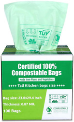 Primode 100% Compostable Bags 13 Gallon Tall Kitchen Biodegradable Trash Bags $38.99