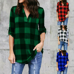 Women Casual Long Sleeve T Shirt Plaid V Neck Loose Tops Blouse Size Plus Tunic $12.99