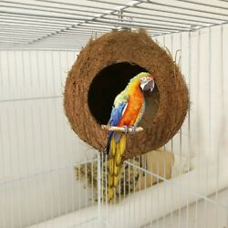 Natural Coconut Shell Birds Nest House Hut Cage Feeder Pet Parrot Parakeet Toy $9.99