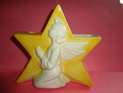 VINTAGE YELLOW POTTERY ANGEL STAR CANDLEHOLDER VASE ROYAL COPLEY SPALDING 7quot; $25.95