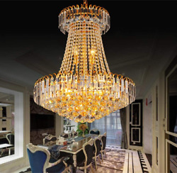 23.6quot; Modern Luxury Duplex Crystal Chandelier Staircase Hanging Ceiling Lighting $206.70