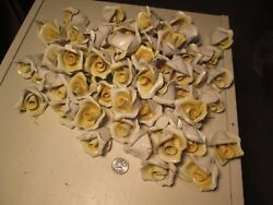 BBT Lot of 10 Yellow Capodimonte Roses Porcelain Lamp Chandelier Flowers $29.99