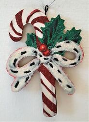 CANDY CANE w FUR BOW amp; HOLLY BERRIES * Glitter CHRISTMAS ORNAMENT * Vtg Img $10.50