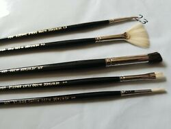 NEW HERITAGE PAINT BRUSH LOT 5 PER SET FAN FLAT SQUARE DEER FOOT SHADER #23 $5.99