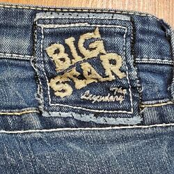 Big Star Womens Sweet Ultra Low Rise Jeans Flare Leg Size 26R X 30 Embroidered $22.80