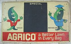 AGRICO GAYBLADE amp; PROFESSOR LAWN Sign Original Old Feed Seed Store Advertising $595.00