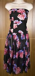 Free People Strapless Black Floral Dress Semi Sheer Chiffon Skirted Size Large $29.99