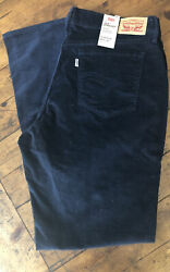 Levi's 505 Straight Corduroy Jeans For Women Size 16 W33 L32 Navy Blue NWT $31.00