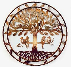 Rustic Style Metal Circle Tree of Life with Birds 24quot; Rustic Wall Decor Art Plaq $38.99