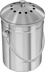 Stainless Steel Compost Bin for Kitchen Countertop 1.3 Gallon Compost Bucket B $35.99
