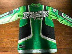 Vintage FOX Motocross Jersey Size S Green For Kawasaki Rider Used 80s 90s $79.20