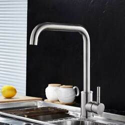 Modern Kitchen Faucet Single Handle Brushed Hot and Cold Water Lead free Faucet $32.48