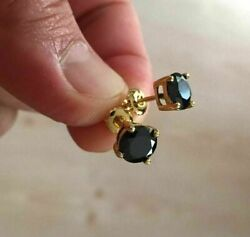 2Ct Round Cut Black Diamond Solitaire Stud Earrings Solid 14K Yellow Gold Finish $44.00