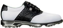 FootJoy DryJoys Tour Golf Shoes 53610 White Black Croc Men#x27;s New $149.95