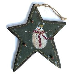 Snowman Star Wall Door Plaque Winter Christmas Ornament Bells Rustic Country $5.99