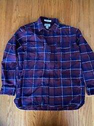 Men's LL Bean Chamois Flannel Shirt Red Blue Plaid Size Medium Traditional Fit $23.00