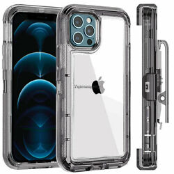 For iPhone 12 12 Pro Max 12 Mini Case Clear Crystal Cover With Clip Belt Holster $7.99
