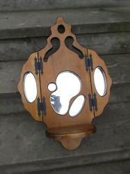 Vintage Wooden Wall Hanging with Mirror and Shelf $25.50