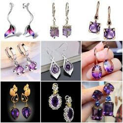 Amethyst 925 Silver Ear Hook Drop Dangle Earrings Women Wedding Jewelry Party $2.19