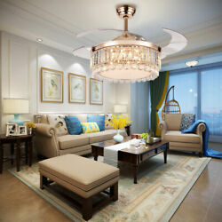 42quot; Gold Ceiling Fan Light Dimmable 3 Color LED Chandelier Crystal with Remote $133.00
