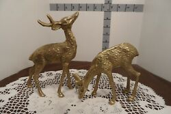 Vintage Brass Deer set of 2 Buck and Doe 6 inches $15.99