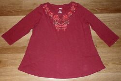 Women#x27;s Sonoma cranberry cotton top with floral embroidery Large NWT $36 $12.90