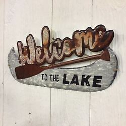 Welcome To The Lake Metal Sign Lake House Canoe Paddle Rustic Home Wall Decor $11.95