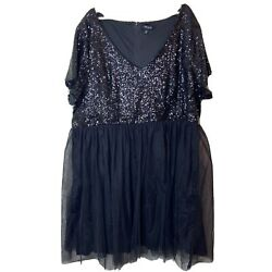 Torrid Size 28 5X Black Sequin and Tulle Party Dress Short Sleeve Fit amp; Flare $32.99