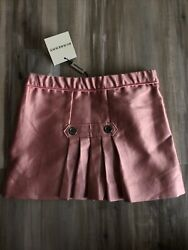 Nwt Authentic Burberry Toddler 2 Girls Lined Pleated Skirt Logo Buttons $50.00
